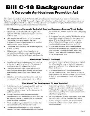 Publications: Backgrounder - Bill C-18, a corporate agribusiness promotion act