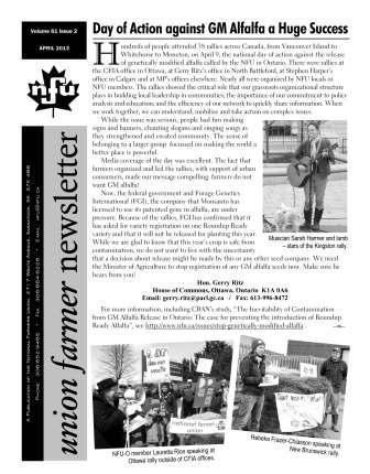 Union Farmer Newsletter – April 2013