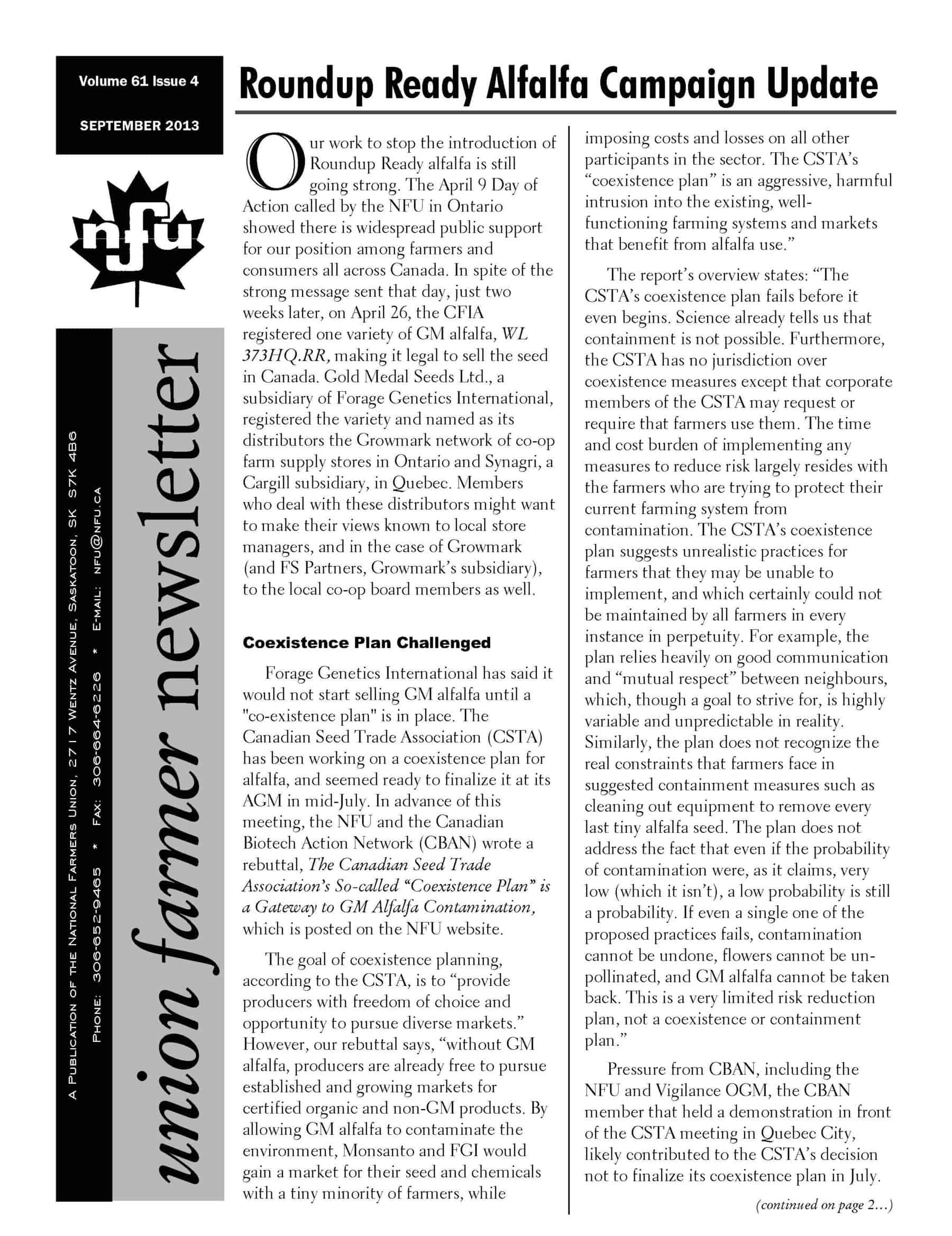Bulletin Union Farmer - Septembre 2013