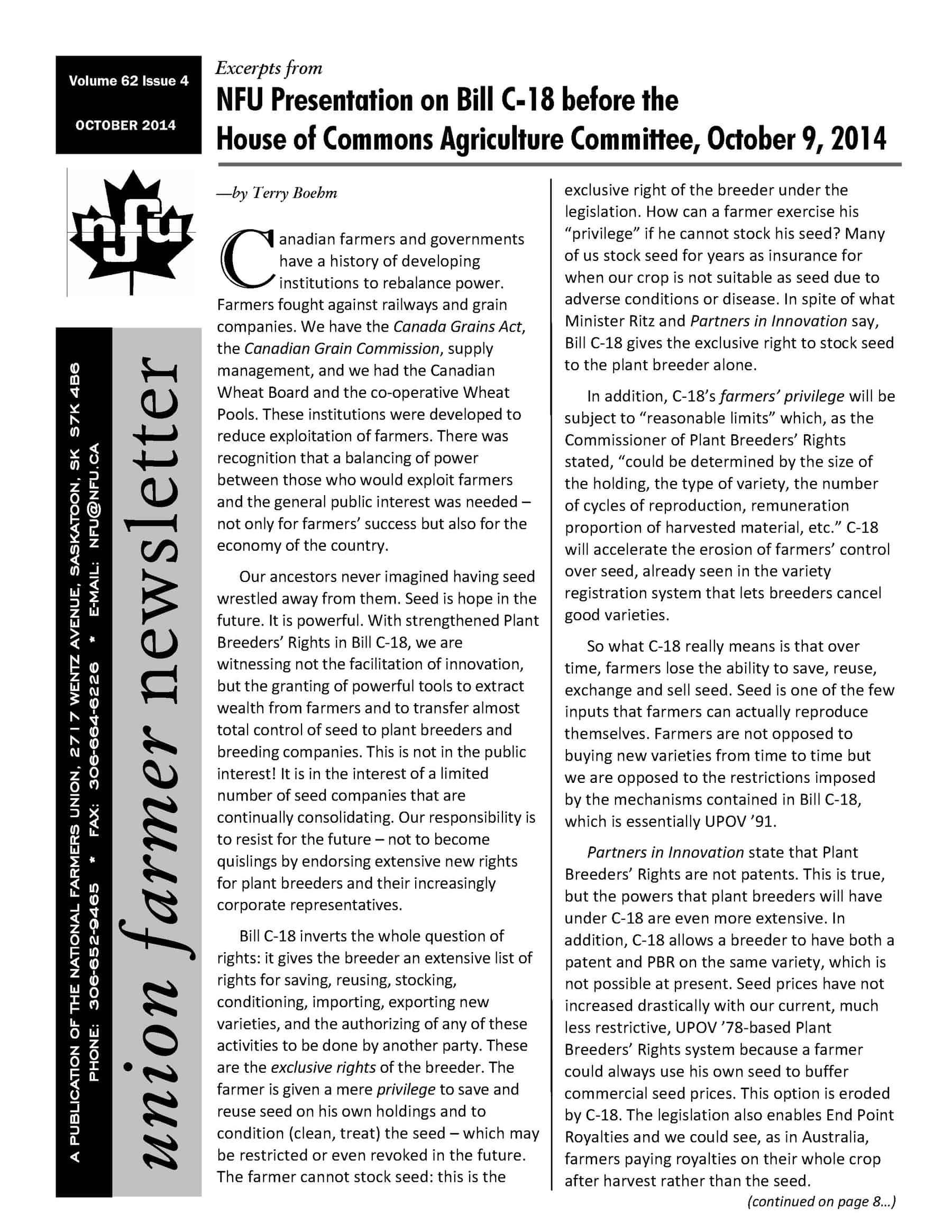 Union Farmer Newsletter – November 2014