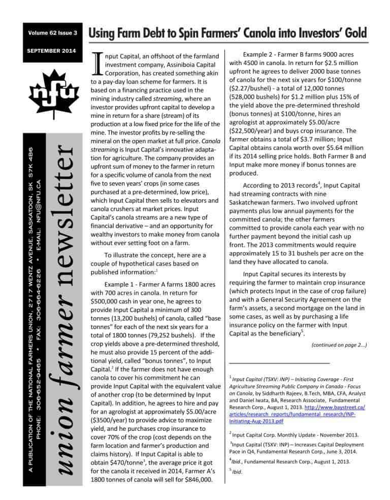 Union Farmer Newsletter: September 2014