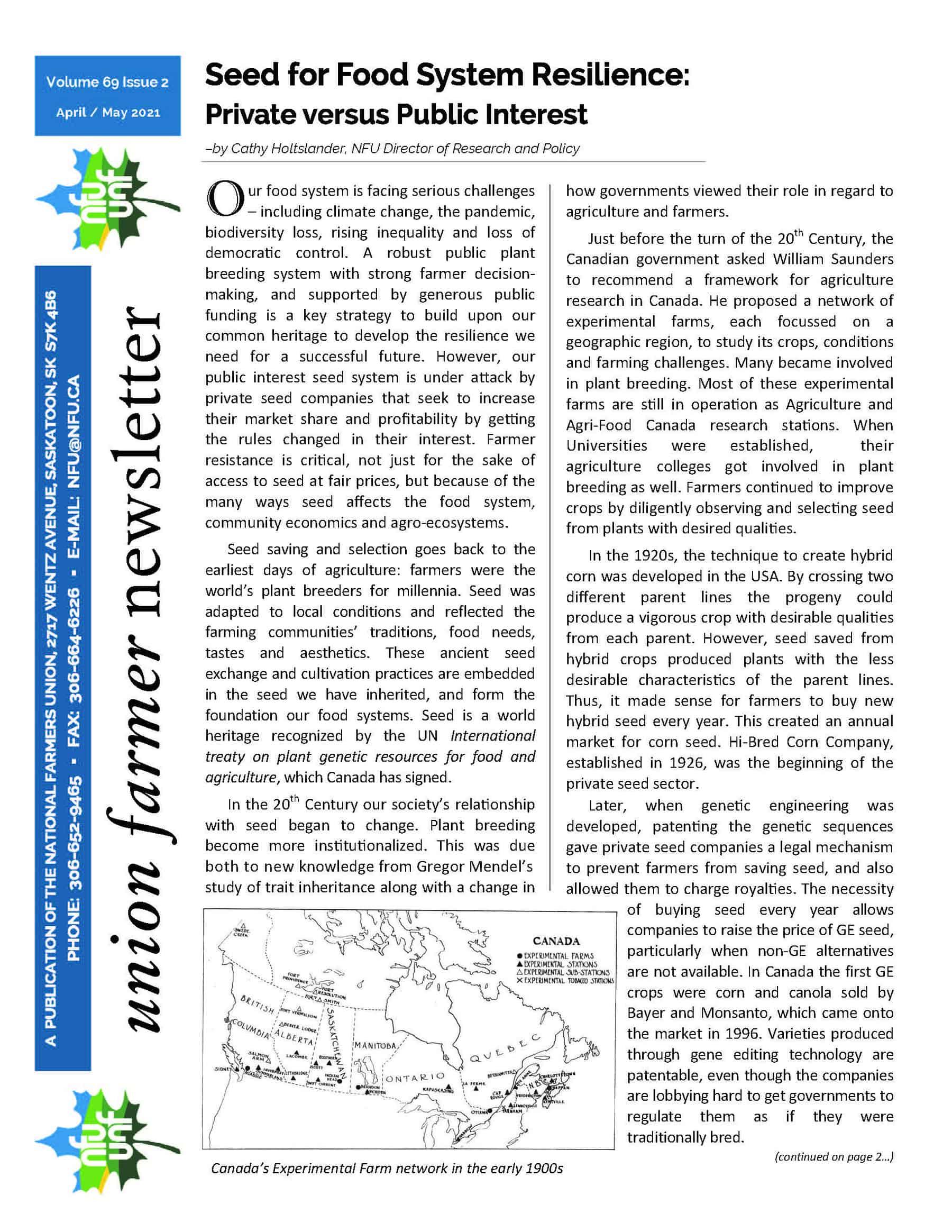 Union Farmer Newsletter: April 2021