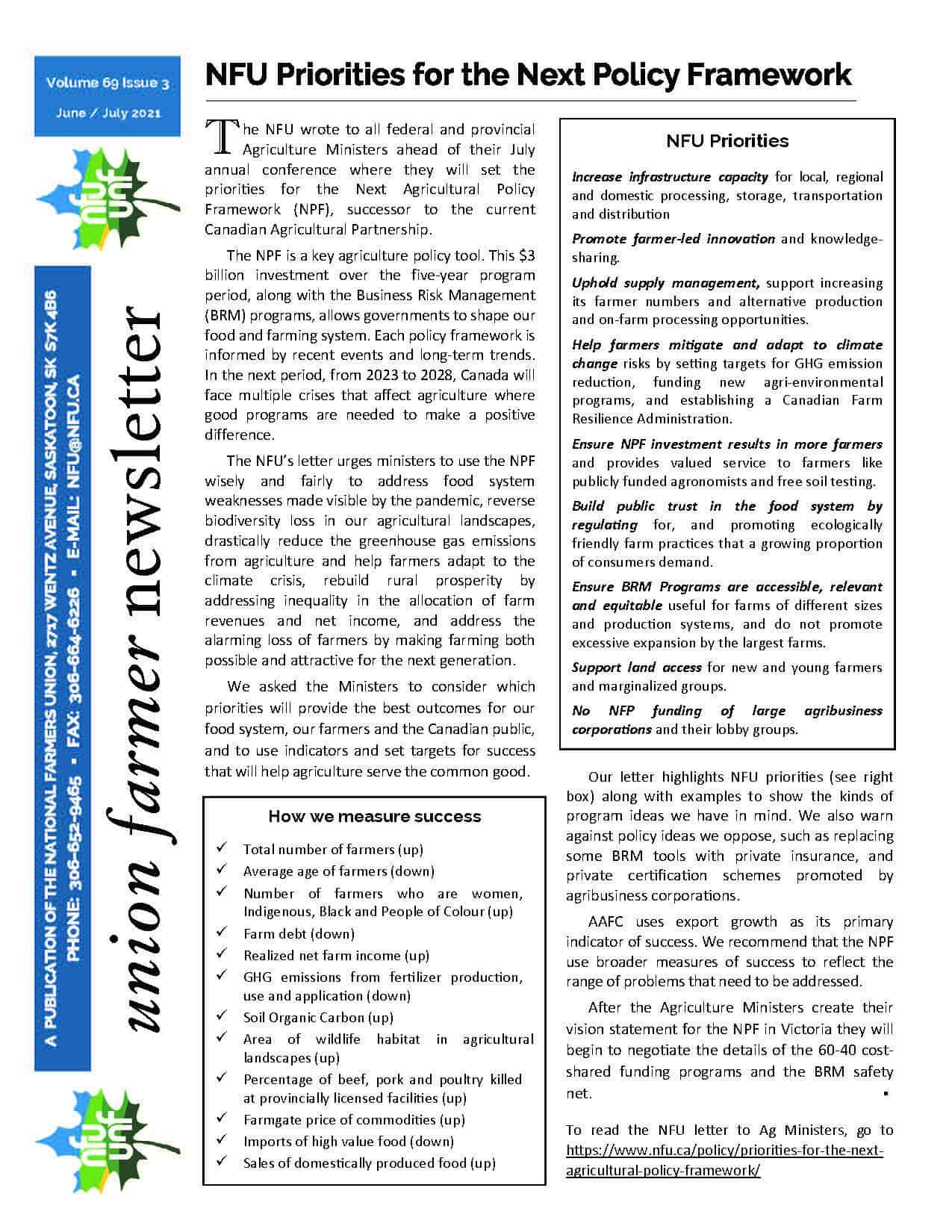 Newsletter Union Farmer : juin – juillet 2021